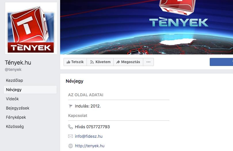 Ez bebukva: Fidesz emailcíme volt megadva a Tények oldalán