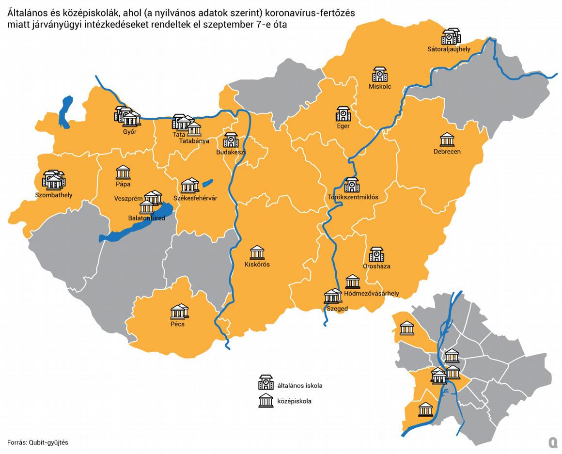Térképen a járvány által érintett magyar iskolák