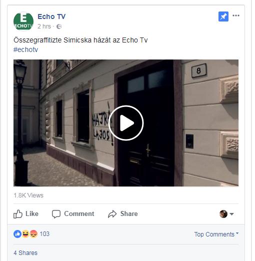10 pontos médiahekknek nevezi az Echo TV újságírója Simicska házának összegraffitizését, pedig simán csak hazugság volt