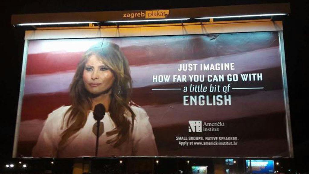 Letiltották a Melanie Trump példájával magát hirdető angol nyelviskola plakátjait Zágrábban