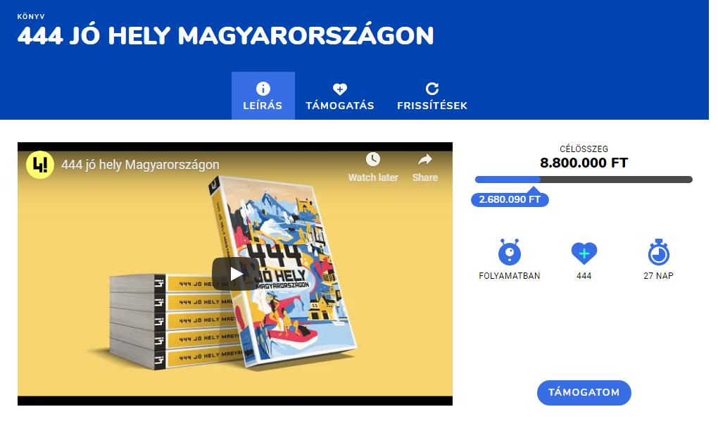 Fontos mérföldkőhöz ért a 444 Jó hely Magyarországon projekt