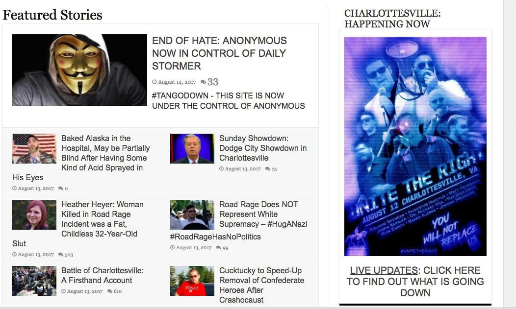 Kövér ribancnak nevezte a charlottesville-i áldozatot a legismertebb neonáci honlap, válaszul az Anonymous átvette az oldal irányítását