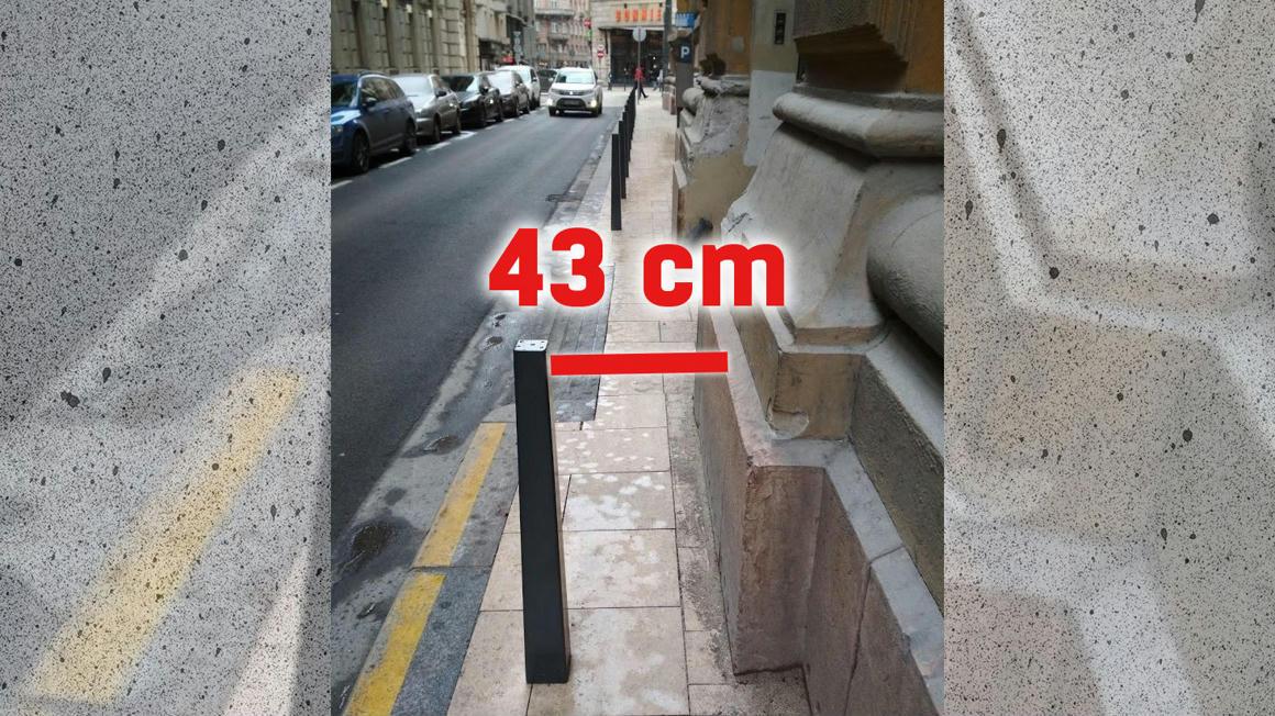 A felújítás után is úgy festették fel a parkolóhelyeket a Magyar utcában, hogy nem fér el egy babakocsi sem