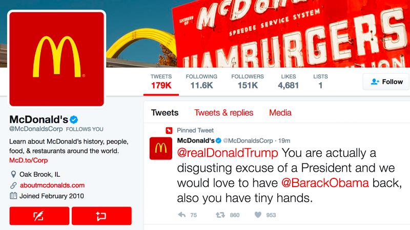 33df4b0a62 Rendesen nekirontott a McDonald's Trumpnak, de elmondásuk szerint csak  feltörték a Twitterjüket